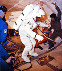 Astronaut Fullerton Suited for Training